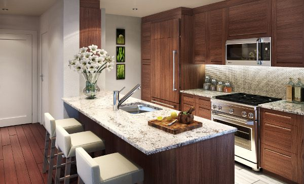 1000 API Kitchen Rendering From Lennar in New York has a open galley corridor kitchen