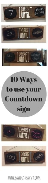 Countdown to wedding, new babies due date, sports events, holidays and so much more with Sawdust Savvy's Countdown sign. DIY kits to make at home. Gather your friends and get a Party in a Box for even more fun. #sawdustsavvy #custom #countdown #DIY #woodsigns