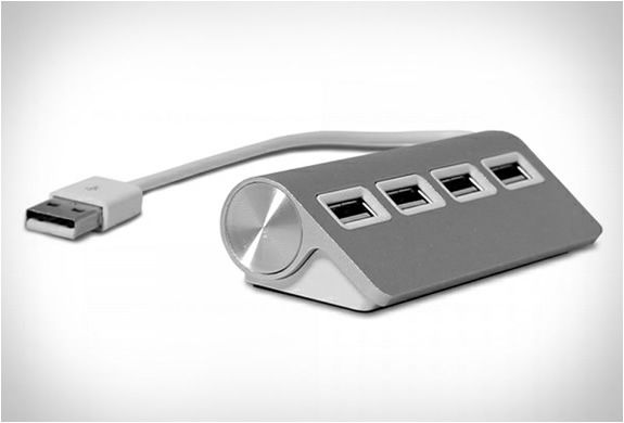 Satechi premium 4-port aluminum USB hub. I need this. The clumsy can't be bothered with USB ports in the back of the monitor. I'm glaring at you Apple Mac.