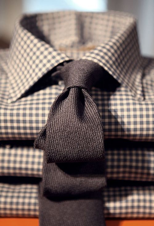 Texture & pattern..you can't go wrong with a charcoal tie and checks!