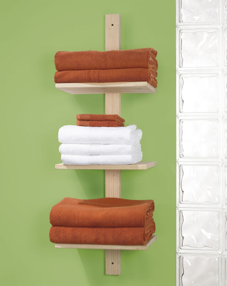 DIY - This 3-tier towel shelf unit is a great and easy way to fulfill storage needs in the bathroom.=