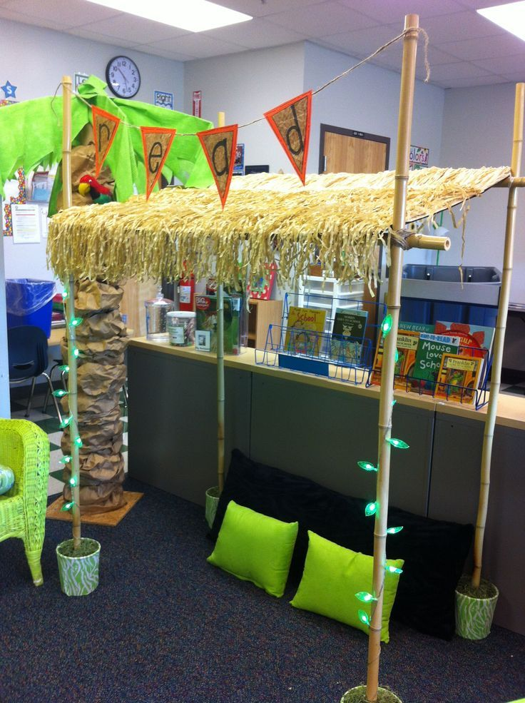 READING HUT made with bamboo poles, buckets filled with concrete, a science board and grass tables skirts. The battery operated green lights are from the Dollar Tree. Fairly easy to assemble and makes a perfect place to read in the classroom!