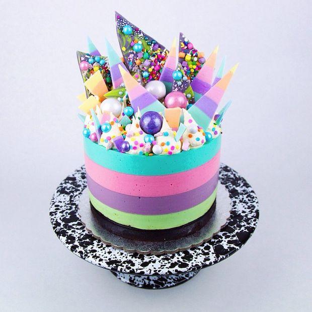 Katherine Sabbath's signature Unicorn Cheesecake – coconut, strawberry, vanilla bean & pistachio rainbow cheesecake | dailyaddict.com.au