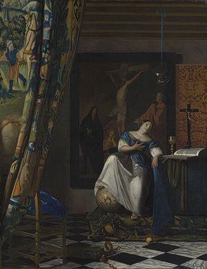 Allegory of the Catholic Faith, c. 1670–72, oil on canvas, 45 x 35 in. (114.3 x 88.9 cm), Metropolitan Museum of Art, New York #girlatthefrick