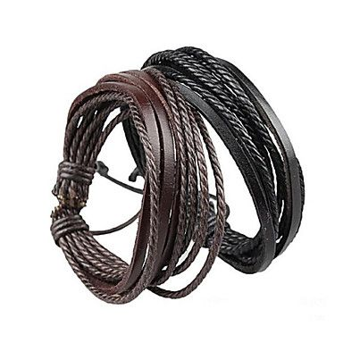 Armbanden Wikkelarmbanden / Lederen armbanden Leder Verstelbaar Feest / Dagelijks / Causaal Sieraden Geschenk Zwart / Bruin,1 stuks - EUR € 0.97