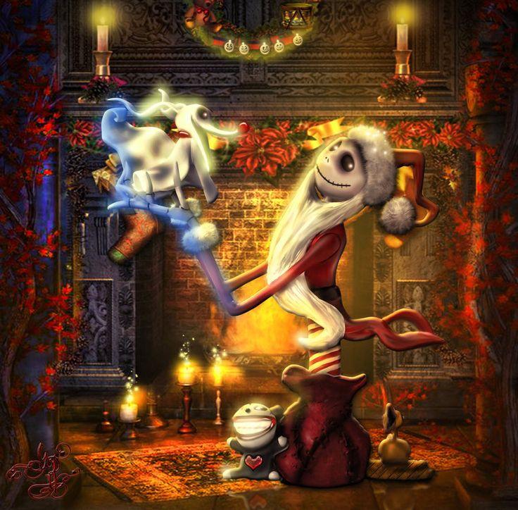 Santa Jack Skellington with Zero Dog by Sinphie.deviantart.com on @DeviantArt