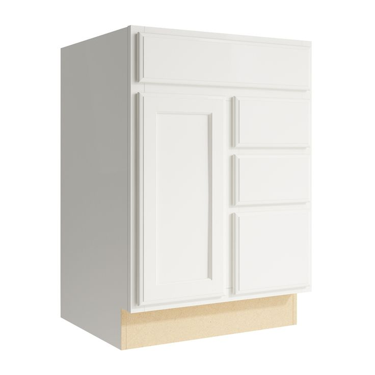 Kraftmaid Momentum Cotton Kingston 1 Door 3 Drawer Right Base Cabinet Common 24 In X 21 In X