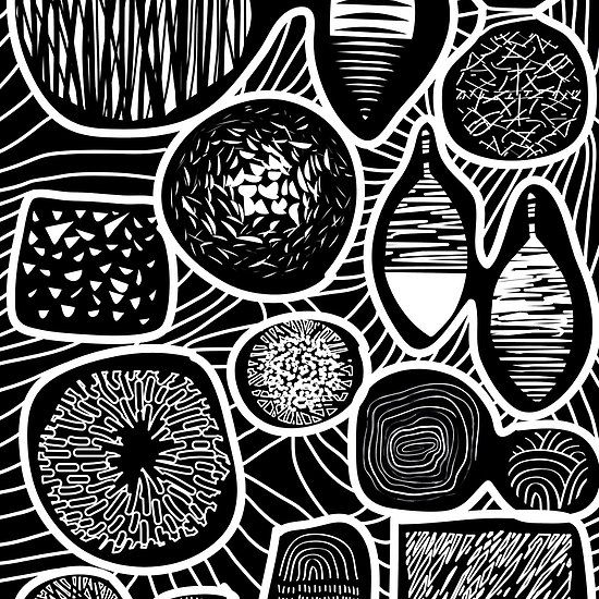 Black and white pattern - linogravure style