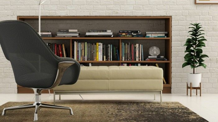 """""""When people are in environments that support positive emotions, they're free to be productive, collaborative and creative,"""" said Steelcase researcher Beatriz Arantes. This supportive setting includes theSW_1 lounge chairand theMillbrae contract bench."""