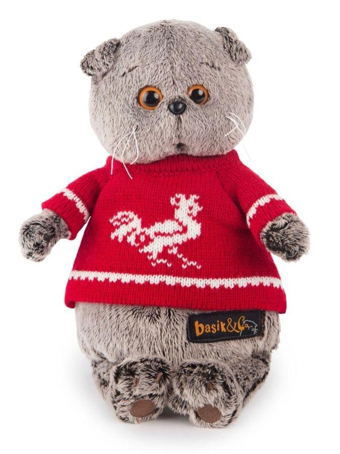 Басик в красном свитере с петушком - Игрушка Кот Басик - купить в интернет-магазине Киндерама