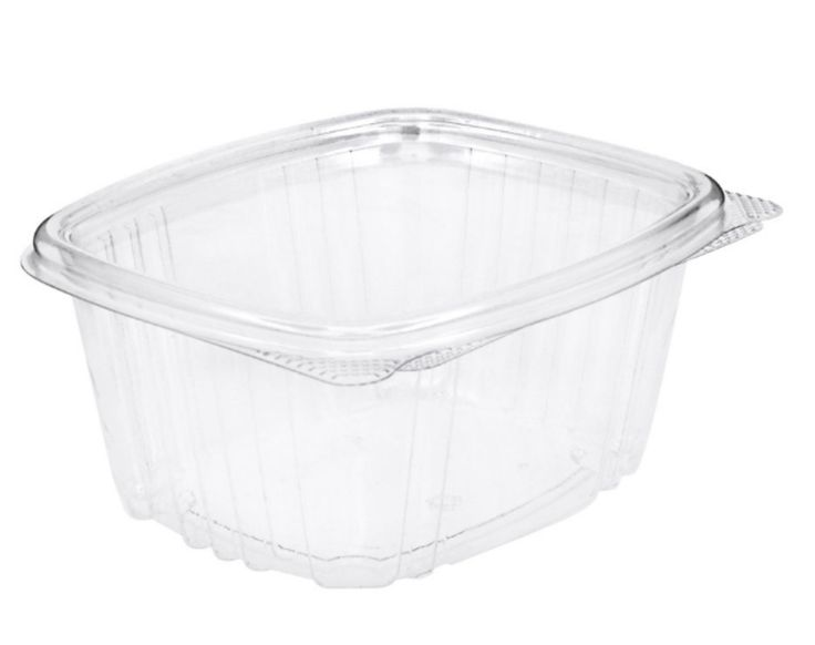Edible Containers 16 oz Plastic Hinged Lid - 1000 COUNT