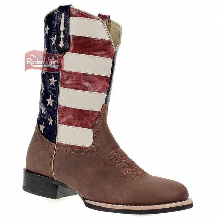 Bota Roper Masculina Cano c/ Detalhe Bandeira EUA e Solado de Borracha- West Country - Rodeo West