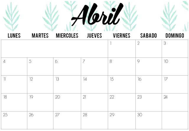 Calendarios de Abril 2016 | Imprimibles