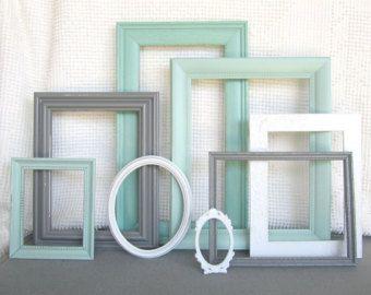 Mints, Grey White Ornate Vintage OPEN Frames Set of 8- Upcycled Frames Modern Bedroom Family Room Dorm Room Frames