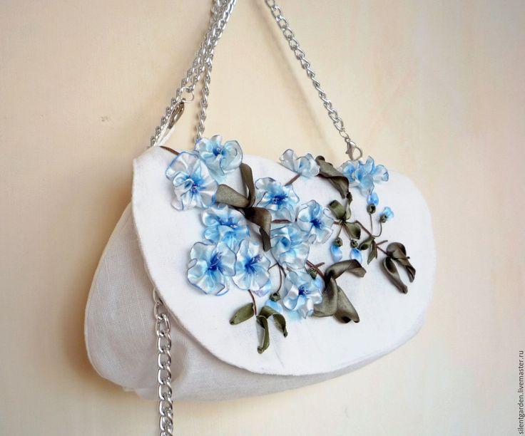 """Купить Клатч """"Лазурные цветы"""" - голубой, цветочный, вышивка цветов лентами, ручная вышивка"""