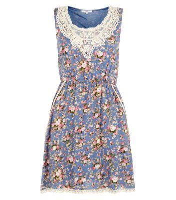 Blue Floral Crochet Neck Sleeveless Dress newlook