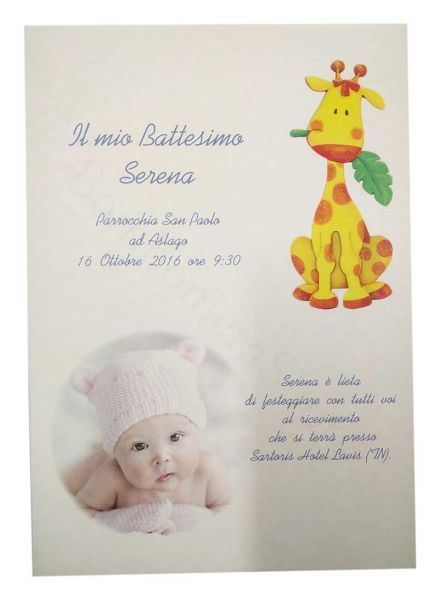 Partecipazione soggetto giraffa e foto personalizzata