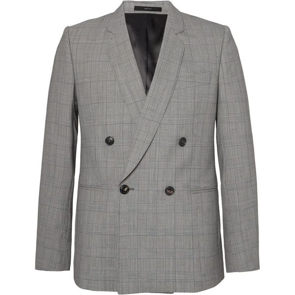 Paul Smith Grey Double-Breasted Prince of Wales Checked Wool Suit... (72.315 RUB) ❤ liked on Polyvore featuring men's fashion, men's clothing, men's outerwear, men's jackets, mens grey wool jacket, mens wool jacket, mens gray leather jacket, mens double breasted jacket and mens grey jacket