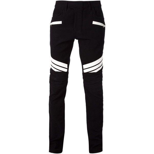 Balmain Black & White Striped Biker Jeans ($1,300) ❤ liked on Polyvore featuring men's fashion, men's clothing, men's jeans, men, mens pants, black, mens jeans, mens striped jeans, mens biker jeans and balmain men's jeans