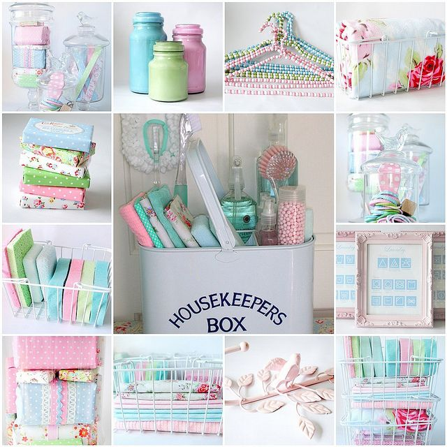 The most gorgeously girly, timelessly vintage chic laundry room accessories ever! #pink #blue #green #laundry #room #accessories #shabby #chic #vintage #pastels #spring