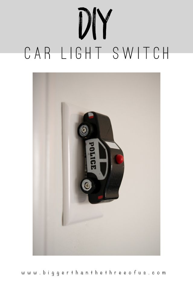 DIY Car Light Switch... I'm gonna do this to every light switch plate in our new house, cute!