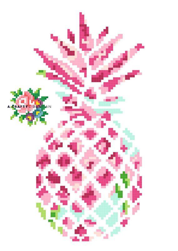 Lilly Pineapple. Modern Cross Stitch Pattern. par acraftylibrarian