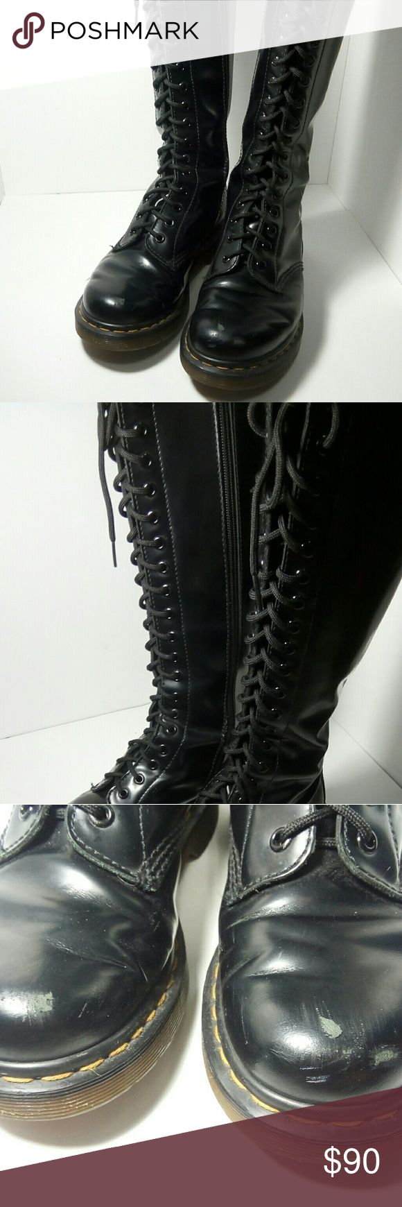 Doc Martens knee high boots | Dr. Martens 20-hole When you just plain want to look badass. Punk, goth, edgy, whatever style you want, these will suit you. Doc Martens 20 eyelet knee high boots. Worn but worn in to perfect comfort! Zippered sides for easy wear.  Size US 7-7.5, UK 5. Real leather. Scuffs and wear shown in photos.  Let me know if you have any questions and I will answer them ASAP! :) Dr. Martens Shoes Lace Up Boots