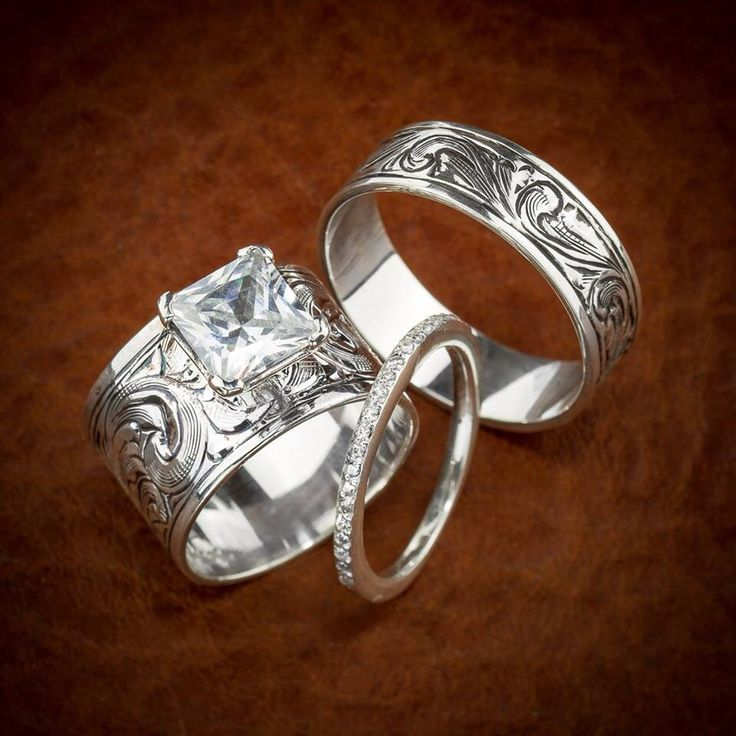western wedding ring set love love love - Country Wedding Rings