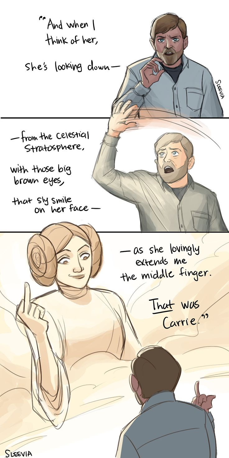 From Mark Hamill's tribute to Carrie Fisher   I just had to draw this after watching The Last Jedi. Carrie was a gift. May the Force be with her always
