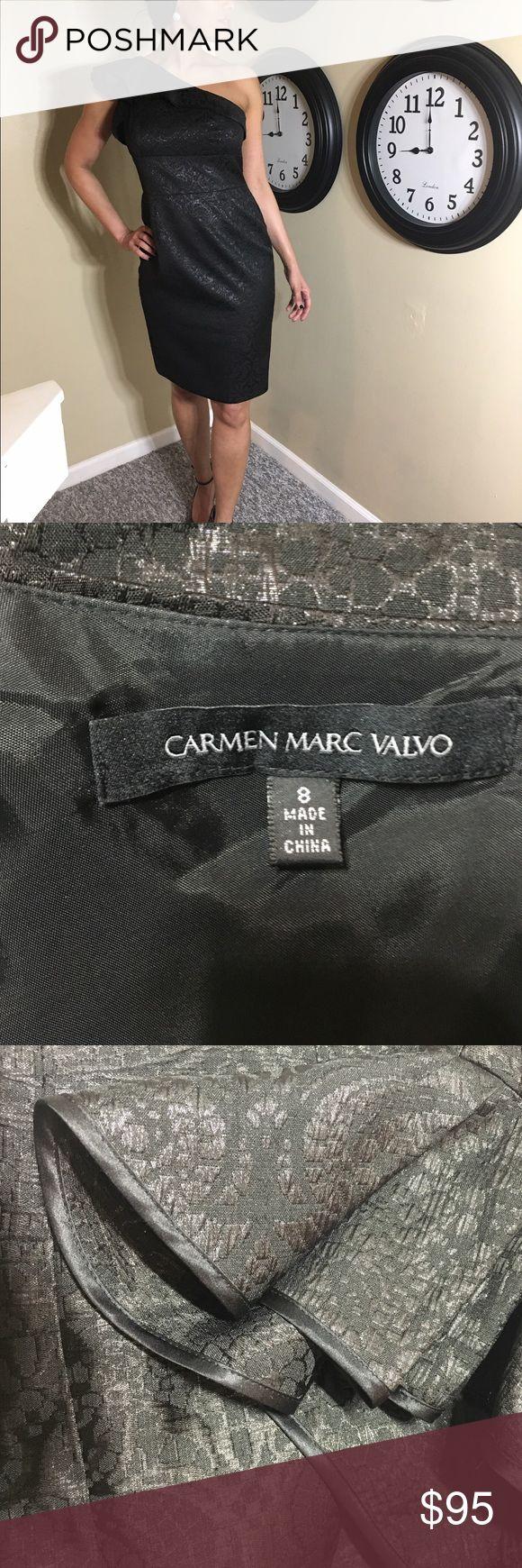 Carmen Marc Valvo black dress Gorgeous little black dress by Carmen Marc Valvo, black with metallic detail weaved through the fabric. Carmen Marc Valvo Dresses Midi