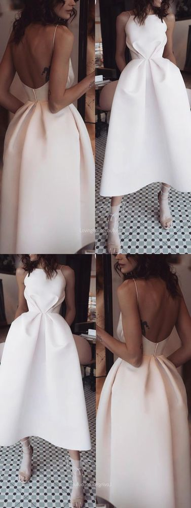 A-Line ball gowns Spaghetti Straps prom dress Backless Tea-Length party dress White Prom Dress with Pockets C234 from cutedressy