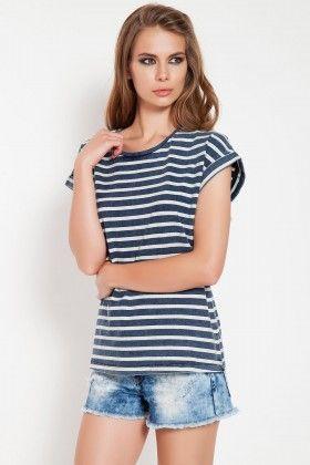 The Girl That Loves Çizgili Mavi Basic Tişört