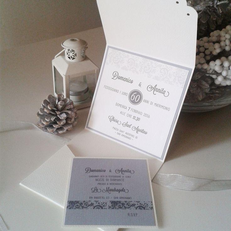 Winter elegant invitation - light grey - Diamond wedding