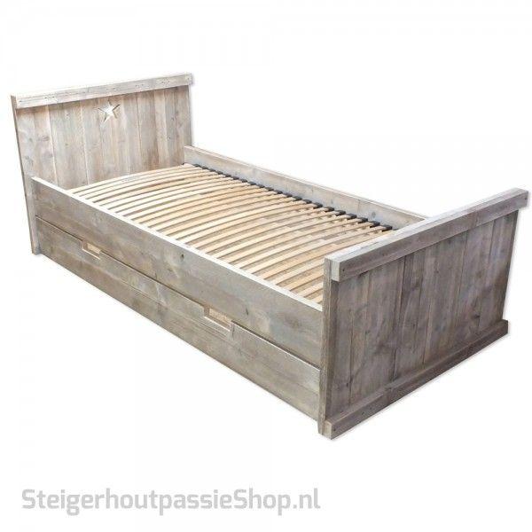 steigerhouten Bed Lotte met Schuiflade en Ster