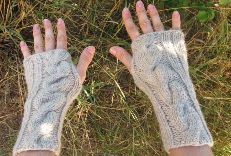 Handknit Womens Wool Beige Fingerless Mittens. $21.50, via Etsy.