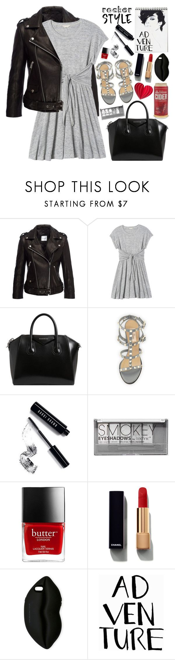"""""""Rocker Chic"""" by martinabb ❤ liked on Polyvore featuring Anine Bing, Rebecca Taylor, Givenchy, Valentino, Bobbi Brown Cosmetics, Boohoo, Chanel, STELLA McCARTNEY, rockerchic and rockerstyle"""