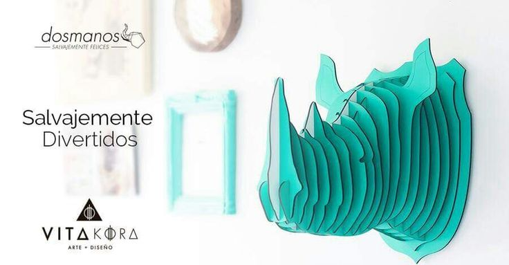 Give an especial, unique, and wildly touch to your spaces. #ddosmanos #vitakoradesign #gallery #art #design #wild #animals #homedecor #worldwideshipping #home.  Check this beautiful rhino and his friends on www.vitakoradesign.com