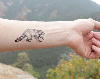 NATURETATS - Raccoon Temporary Tattoo, Black Ink Raccoon, Forest Animal Tattoo, Nature Tattoo