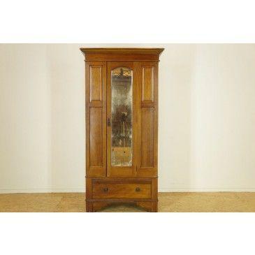 Mahonie kledingkast met spiegeldeur en lade, h. 195 br. 98 d. 48 . cm.