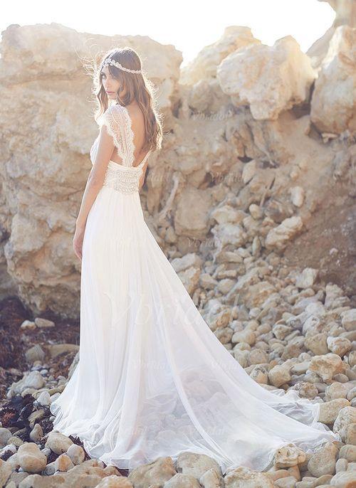 Robes de mariée - $262.72 - Forme Princesse Col V Traîne moyenne Mousseline Robe de mariée avec Dentelle Perles brodées (0025060355)