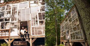 Casal constr�i casa no meio da floresta com janelas antigas e madeira de demoli��o - Um casal construiu uma casa de vidro nas montanhas de West Virginia usando diferentes tipos de janelas e madeira de demoli��o. Veja a constru��o