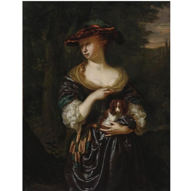 Ян Мирис, Jan van Mieris (1660 — 1690) — Дама, держащая на руках собачку (Частная коллекция)