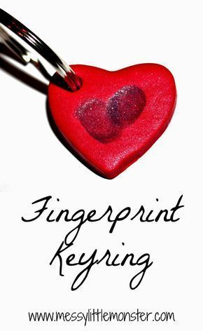 Instructions on how to make a simple fingerprint keyring keepsake. The heart shape makes this a perfect Valentines craft. A great keepsake craft for toddlers, preschoolers. #valentinecrafts