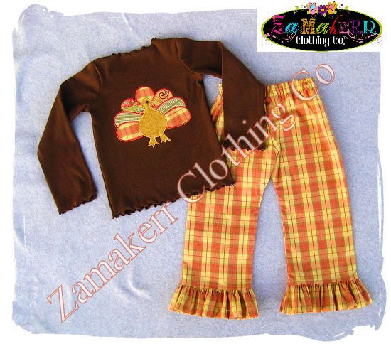 Girl Fall Turkey Outfit Thanksgiving Top by ZamakerrClothingCo, $49.99