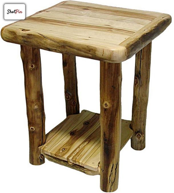 Log Projects: Aspen Log Night Stand With Shelf