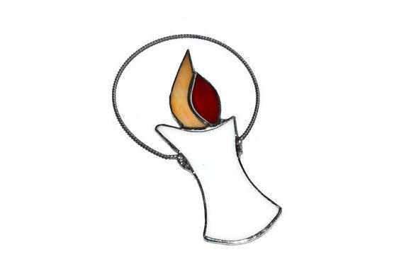 Kaars Suncatcher glas kaars Ornament in wit rode en door ZangerGlass