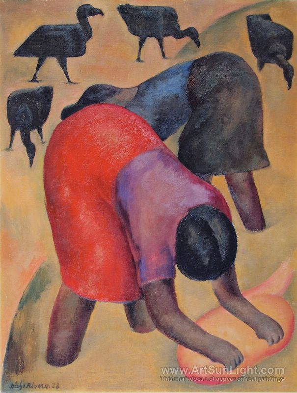 washerwoman and buzzards - Diego Rivera - 1928