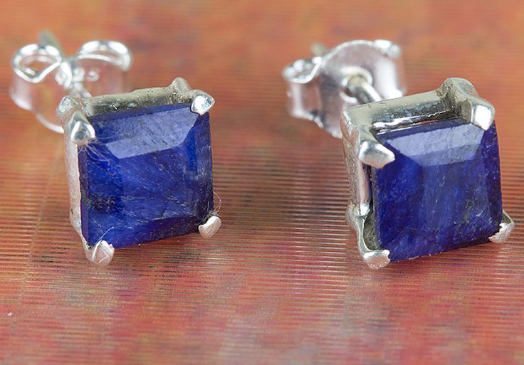 Sapphire Jewellery – Unique Solid Silver Sapphire Gems Stud BJS-128-SA – a…