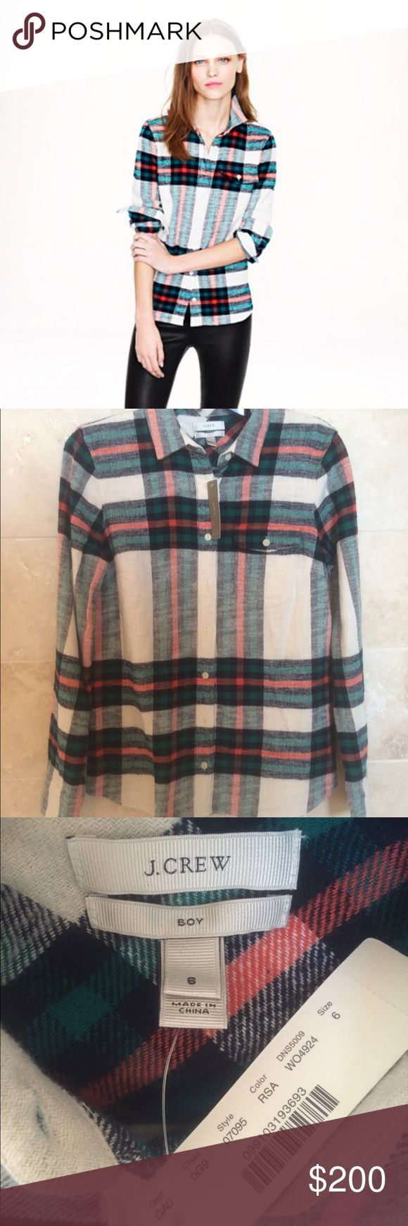 RARE -  J CREW ROCK SALT PLAID SHIRT -  NWT NEW WITH TAGS J CREW'S ROCK SALT PLAID SHIRT FROM J CREW RETAIL. SIZE 6. J. Crew Tops
