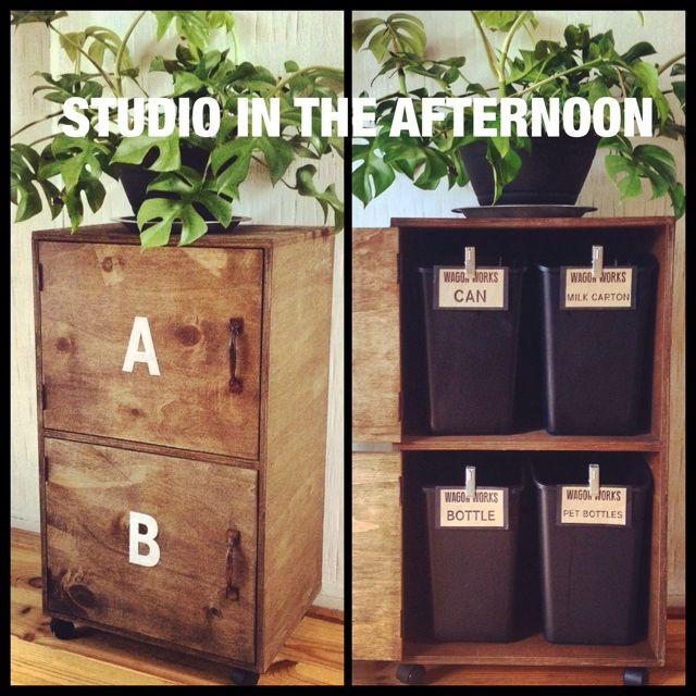 chikoさんの、DIY,オリジナルラベル,分別ゴミ箱,ブログに作り方載せてます♡,セリア,ブログUPしました♪,男前家具,男前,キッチン,のお部屋写真